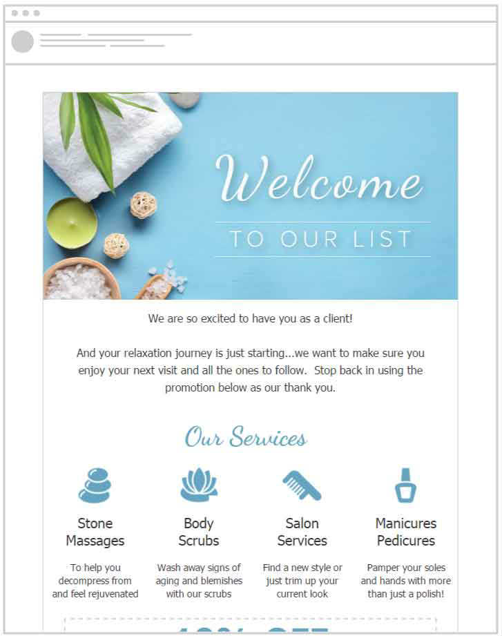 Welcome new customers to your spa with a pre-designed email template