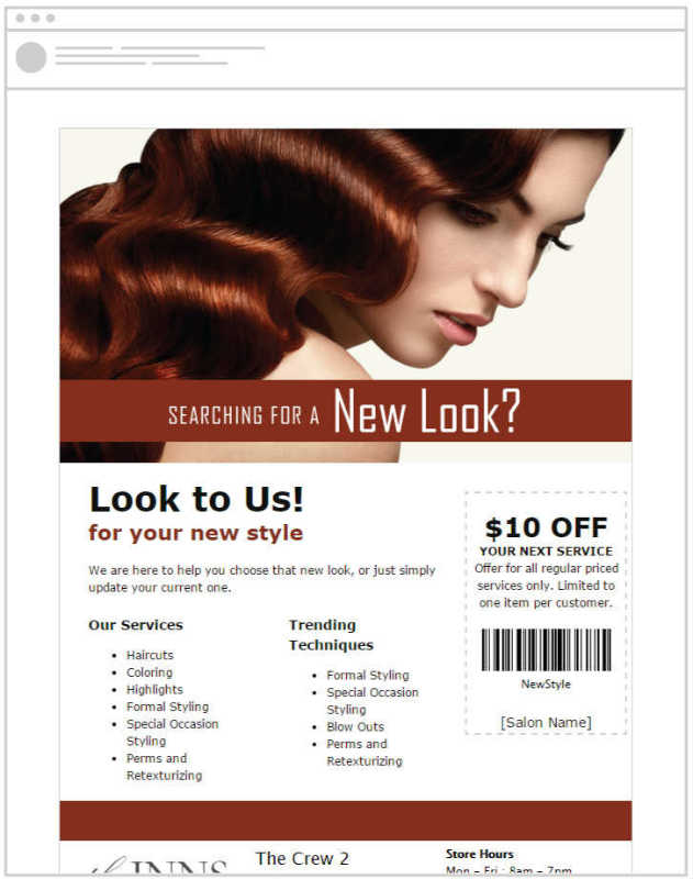 Engage your salon customers by sending emails promoting your services