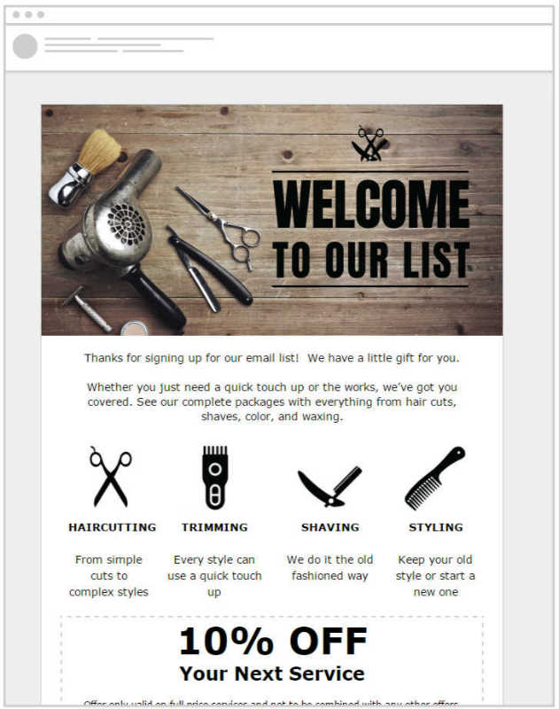 Barbershops can engage their customers with email marketing templates