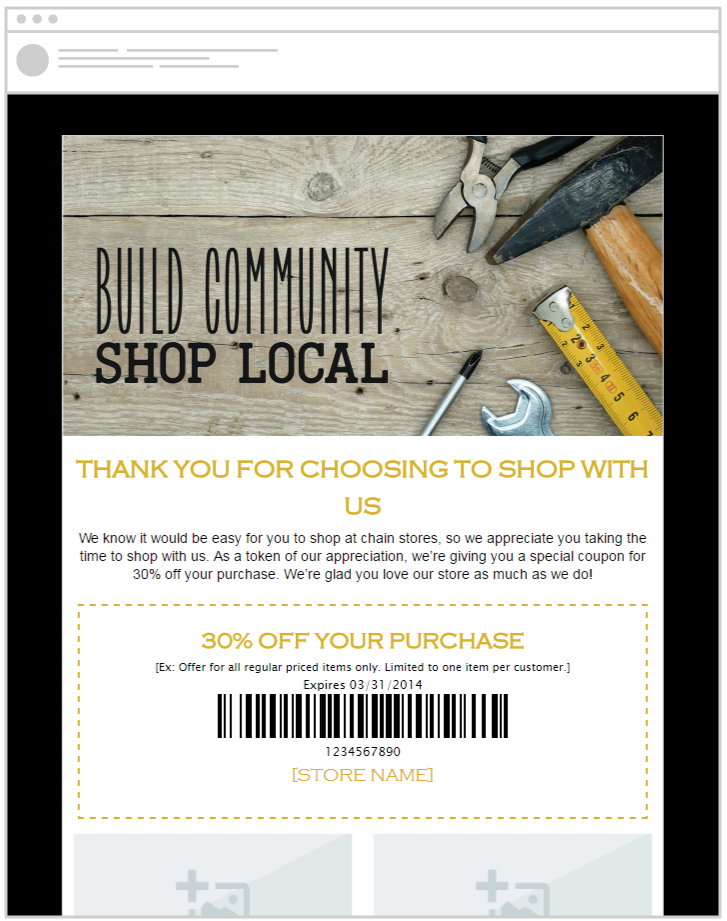 Promote your store marketing with pre-made email templates from SnapRetail and Independent We Stand