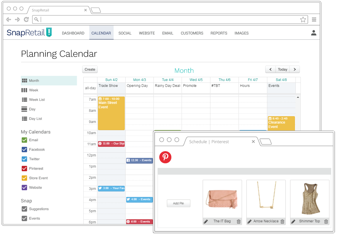 Schedule Pins on Pinterest with SnapRetail's drag-and-drop marketing calendar