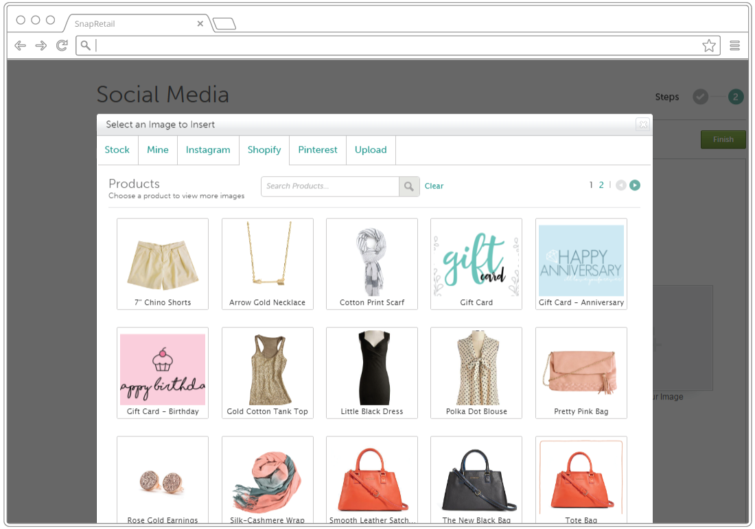 Use your Shopify product images in your email, Facebook, Twitter, and Pinterest marketing with SnapRetail