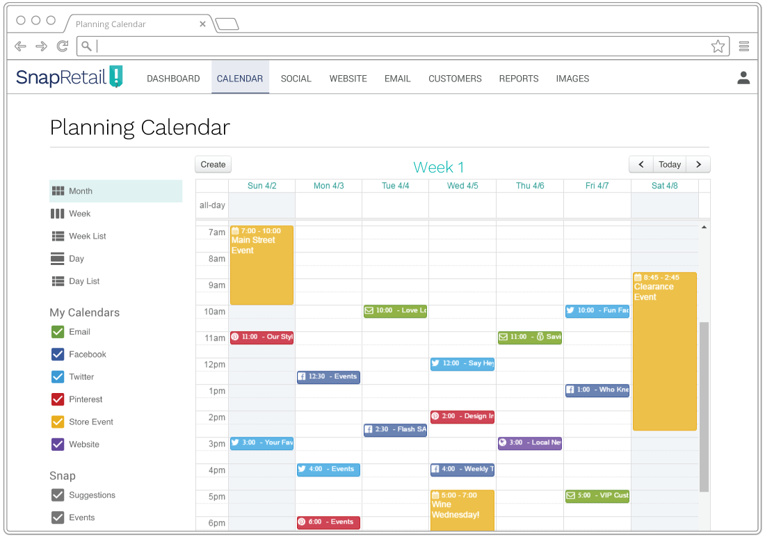 Schedule your small business marketing ahead of time with the SnapRetail planning calendar