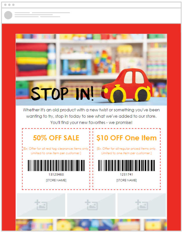 Promote your toy store marketing with pre-made email templates from SnapRetail and ASTRA