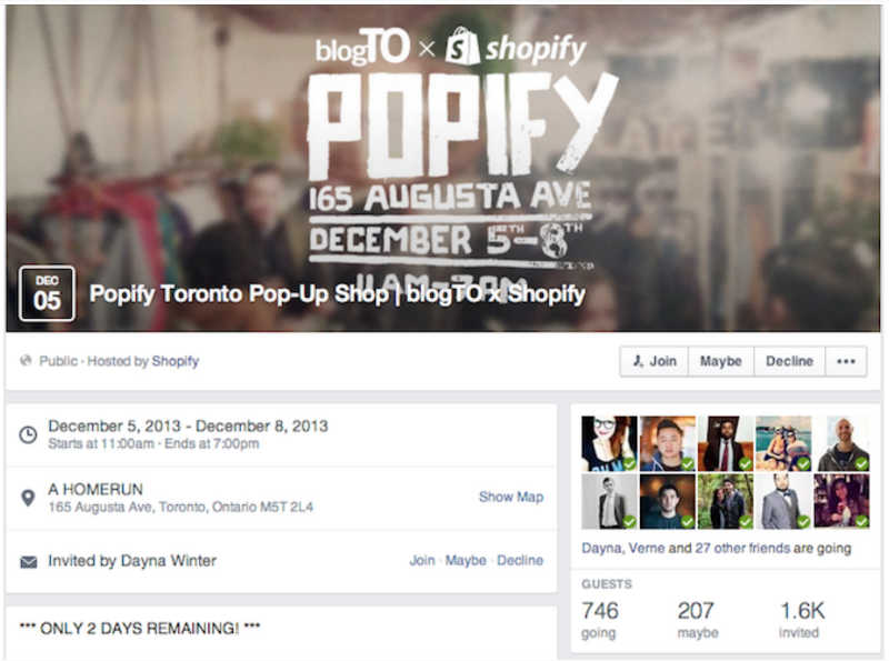 Example Facebook Event Shopify Pop Up Store