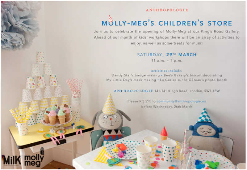 Molly Meg Pop Up Store announcing kids' workshops and other activities.