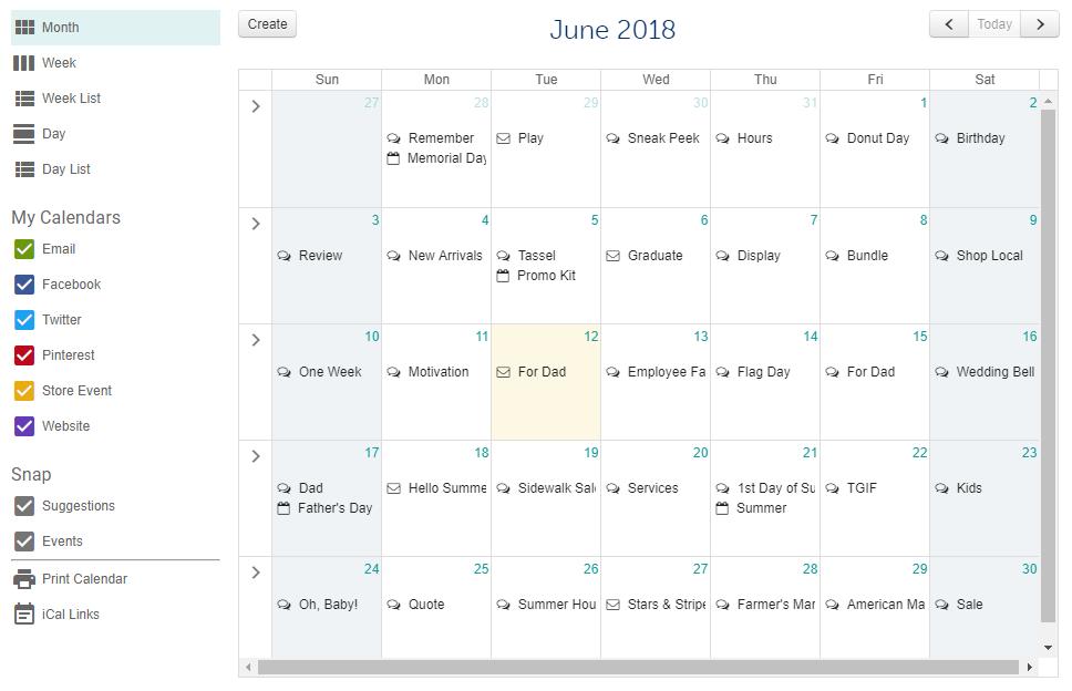 social media calendar snapretail