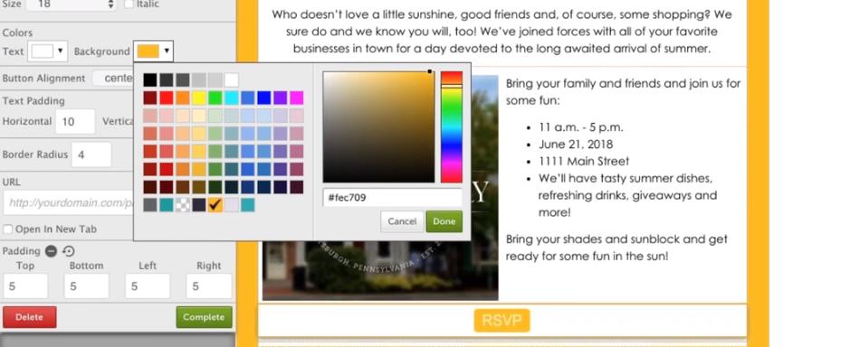 build a button in snapretail screenshot