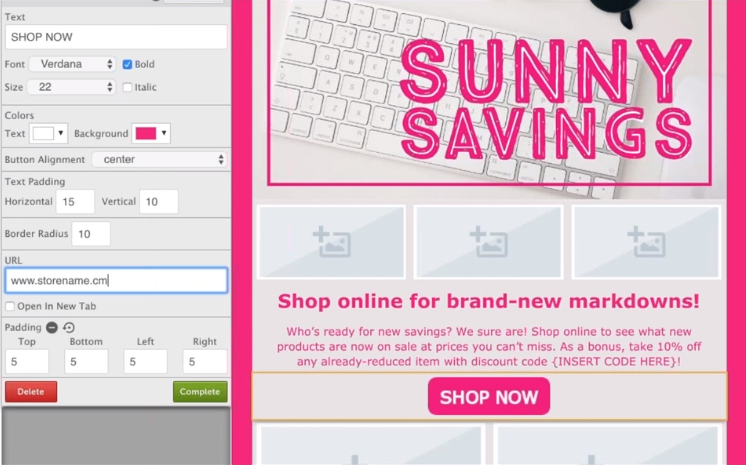 sunny savings email template