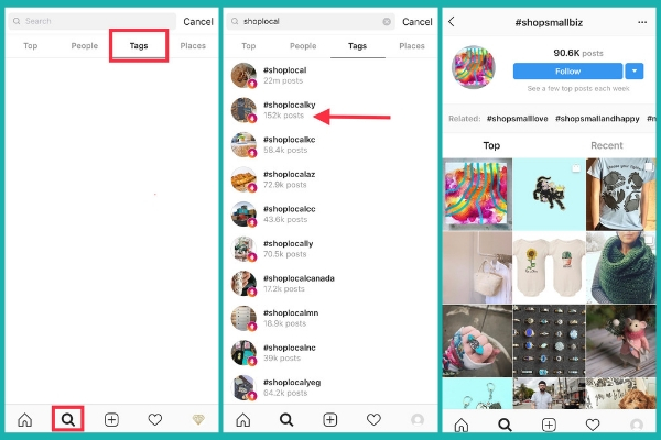 how to search for hashtags on instagram