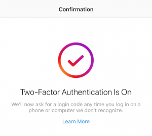 two-factor authentication success screen
