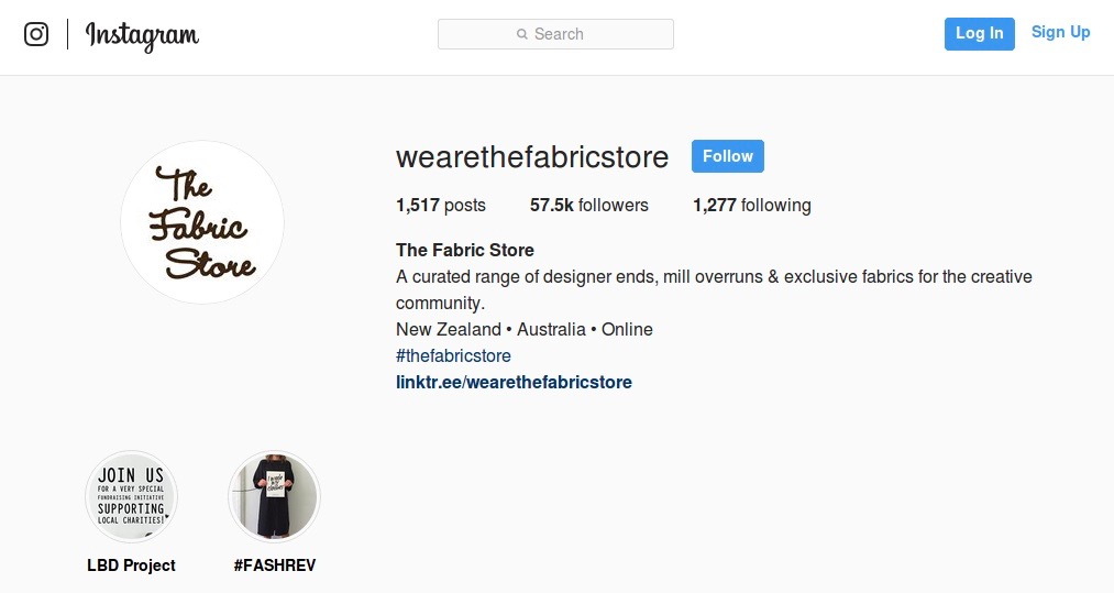 the fabric store instagram account